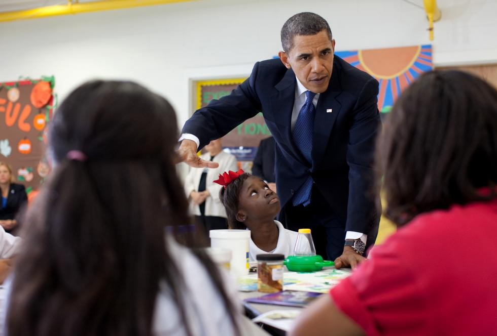 President Obama visits the Martin Luther King Jr. Charter School in New Orleans. The city has become fertile territory for charter operators, and reporters writing about the publicly funded campuses.  (Pete Souza for The White House)