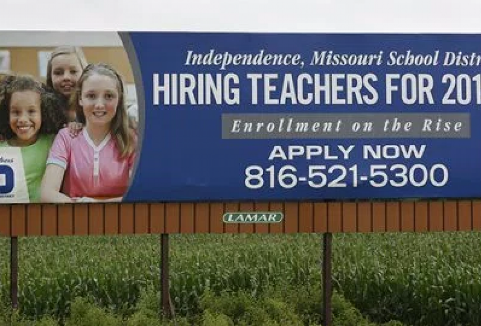 A Missouri school district facing a teacher shortage posted advertisements in neighboring Kansas. (Photo credit: KTNV.com)