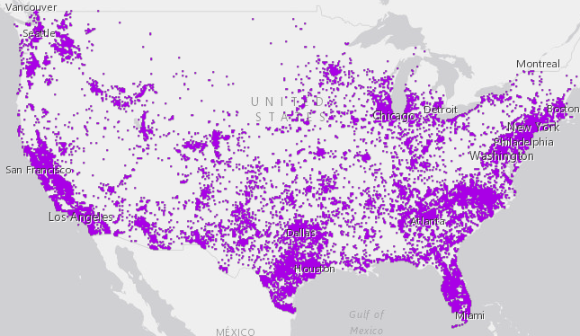 "Source: Screenshot of the most recent American Community Survey map tool, where each dot represents 100 people who said they speak English ""less than very well."""