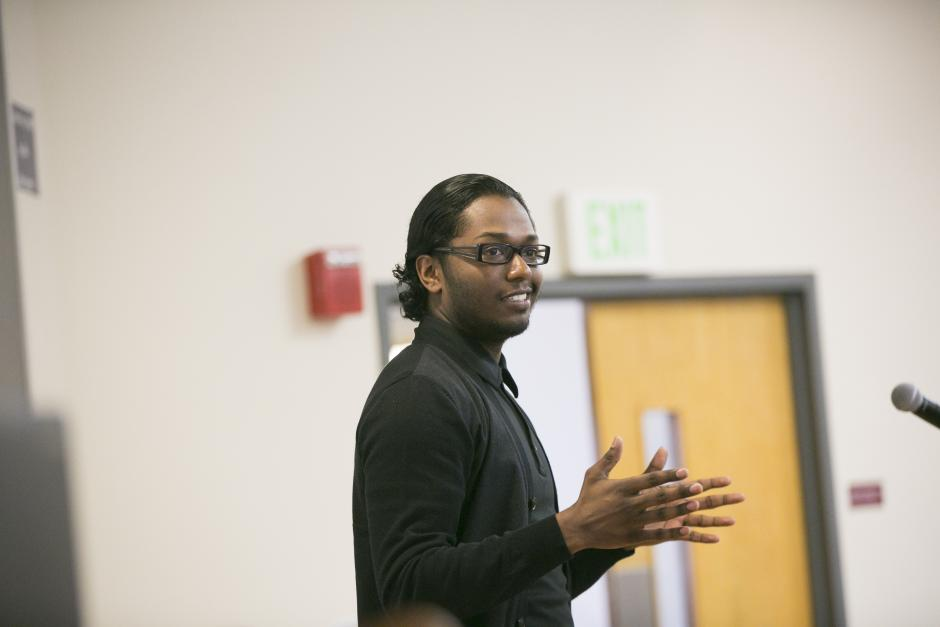 Trinidad Ramkissoon, a recent graduate of the Boston Day & Evening Academy, shares his academic path during a session at EWA's National Seminar in Boston on May 2, 2016. (Lilli Boxer for EWA)