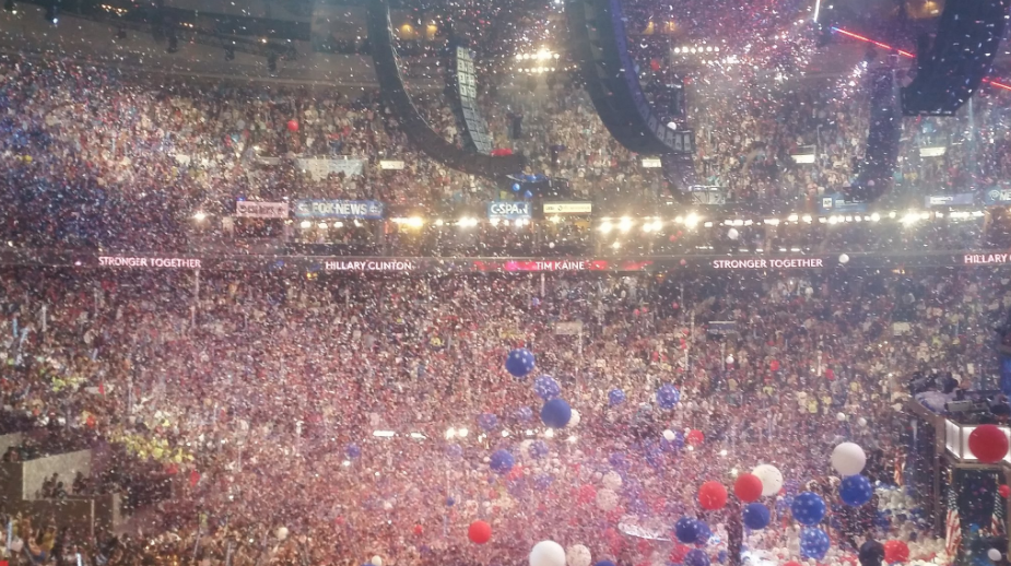 Balloons drop over the crowd in Philadelphia following Hillary Clinton's acceptance of the Democratic Party's nomination for president. (Andrew Ujifusa/Education Week)