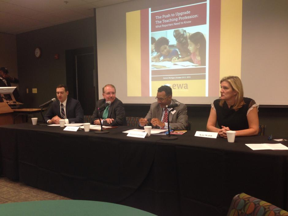 Left to right: Stephen Sawchuk, Education Week; Jim Cibulka, CAEP; Segun Eubanks, NEA; Kate Walsh, NCTQ at the Detroit Center, Oct. 21, 2014. (Source: NEA Media)